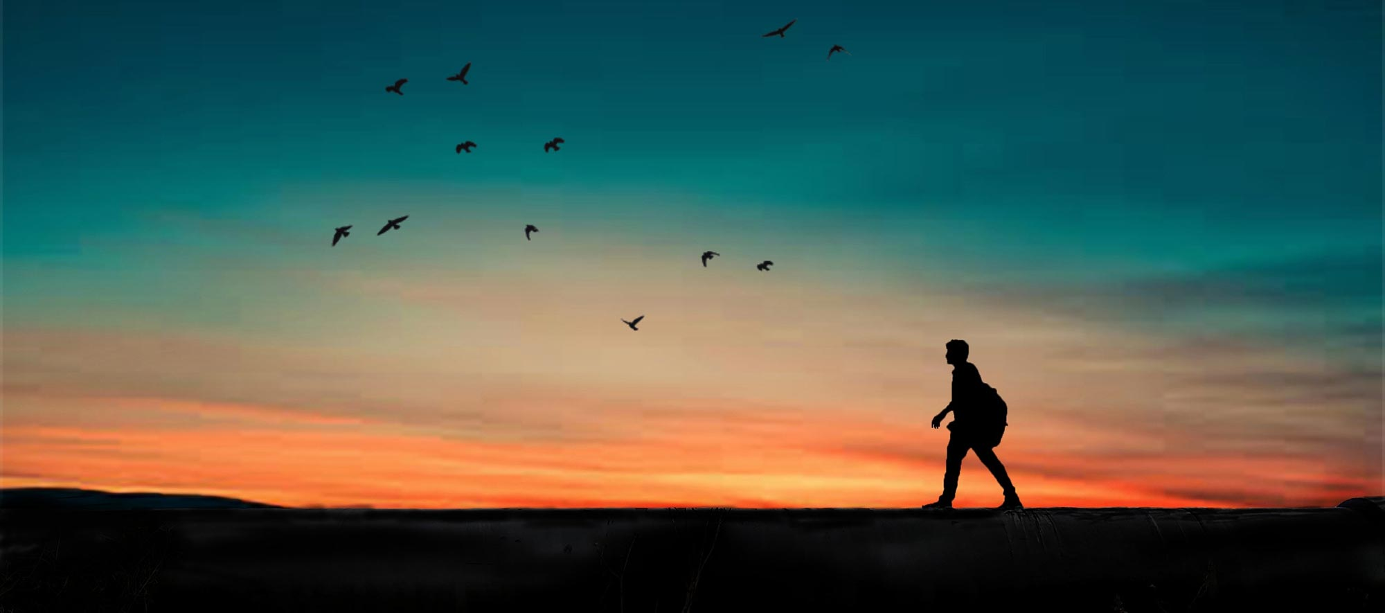 Silhouette of Person Walking At Sunrise With Beautiful Sky in Background